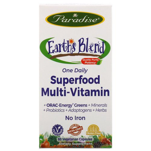 Paradise Herbs, Earth's Blend, One Daily Superfood Multi-Vitamin, No Iron, 60 Vegetarian Capsules Review