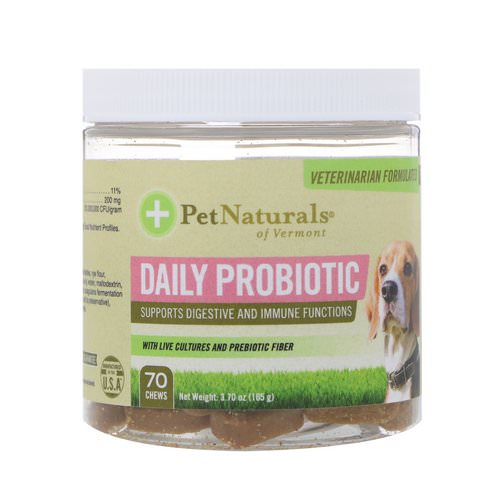 Pet Naturals of Vermont, Daily Probiotic, For Dogs, 70 Chews, 3.70 oz (105 g) Review