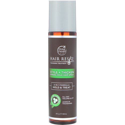 Petal Fresh, Hair ResQ, Thickening Treatment, Style + Thicken, Strong Hold Hair Spray, 8 fl oz (240 ml) Review