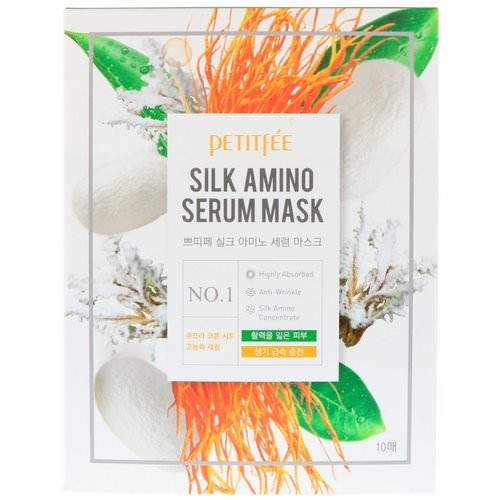 Petitfee, Silk Amino Serum Mask, 10 Masks, 25 g Each Review