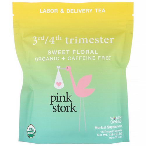 Pink Stork, 3rd/4th Trimester, Labor & Delivery Tea, Sweet Flora, Caffeine Free, 15 Pyramid Sachets, 1.32 oz (37.5 g) Review