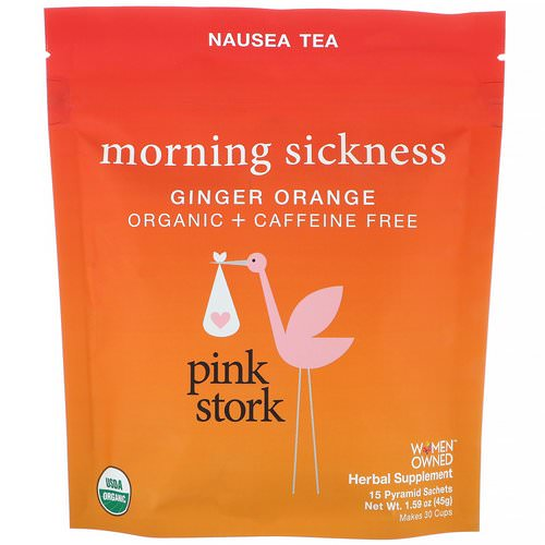 Pink Stork, Morning Sickness, Nausea Tea, Ginger Orange, Caffeine Free, 15 Pyramid Sachets, 1.59 oz (45 g) Review