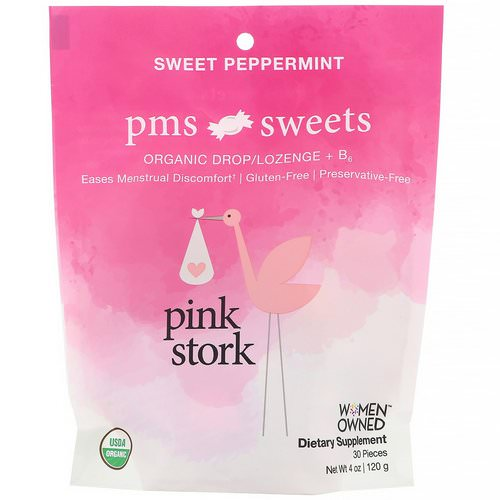 Pink Stork, PMS Sweets, Organic Drop/Lozenge + B6, Sweet Peppermint, 30 Pieces, 4 oz (120 g) Review