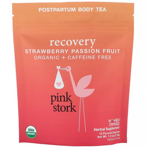 Pink Stork, Recovery, Postpartum Body Tea, Strawberry Passion Fruit, Caffeine Free, 15 Pyramid Sachets, 1.32 oz (37.5 g) Review