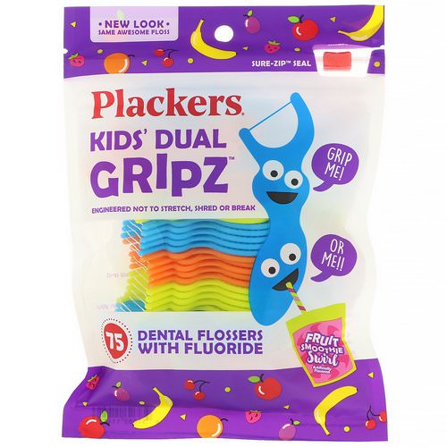Plackers, Kid's Dual Gripz, Dental Flossers with Fluoride, Fruit Smoothie Swirl, 75 Count Review