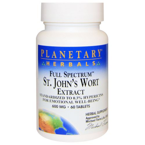 Planetary Herbals, Full Spectrum St. John's Wort Extract, 600 mg, 60 Tablets Review