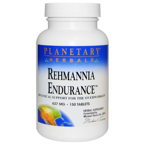 Planetary Herbals, Rehmannia Endurance, 637 mg, 150 Tablets Review
