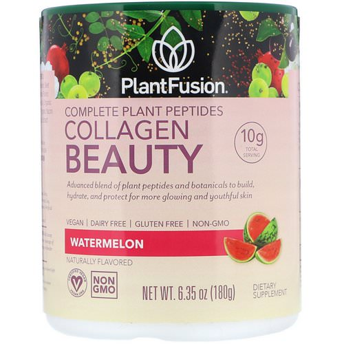 PlantFusion, Complete Plant Peptides, Collagen Beauty, Watermelon, 6.35 oz (180 g) Review