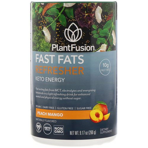PlantFusion, Fast Fats Refresher, Keto Energy, Peach Mango, 9.17 oz (260 g) Review
