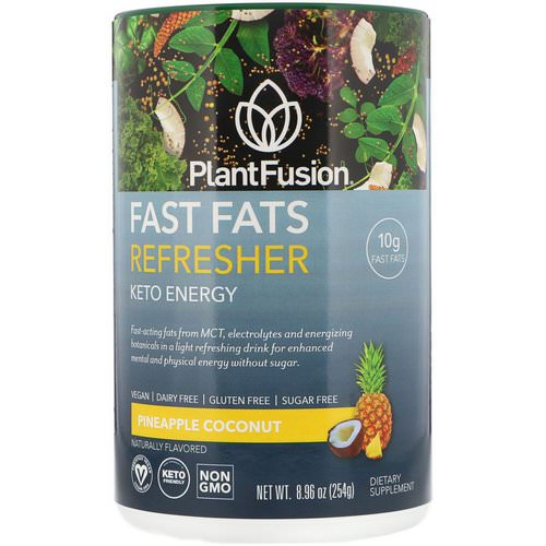 PlantFusion, Fast Fats Refresher, Keto Energy, Pineapple Coconut, 8.96 oz (254 g) Review