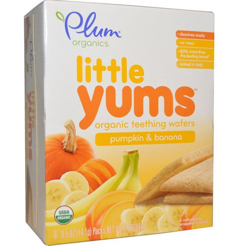 Plum Organics, Little Yums, Organic Teething Wafers, Pumpkin & Banana, 6 Packs, 0.5 oz (14.1 g) Each Review