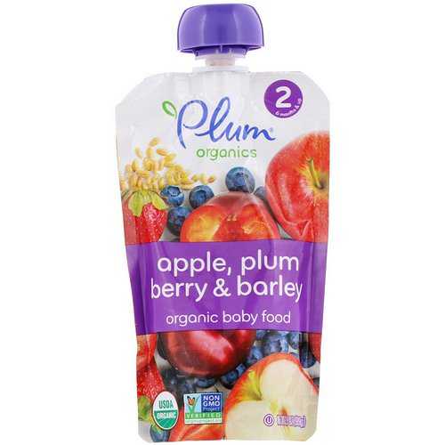 Plum Organics, Organic Baby Food, Stage 2, Apple, Plum Berry & Barley, 3.5 oz (99 g) Review