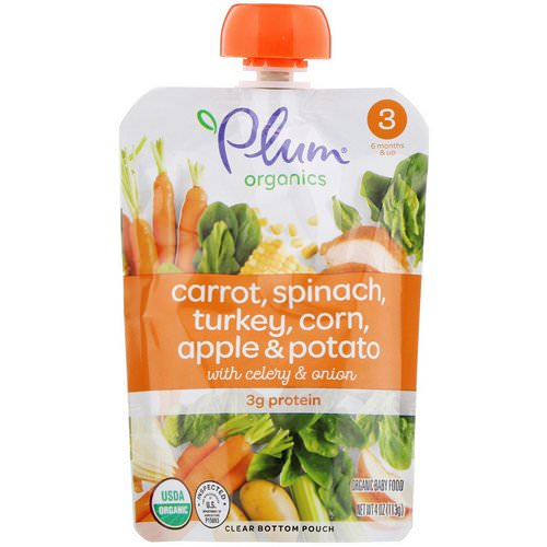 Plum Organics, Organic Baby Food, Stage 3, Carrot, Spinach, Turkey, Corn, Apple & Potato with Celery & Onion, 4 oz (113 g) Review