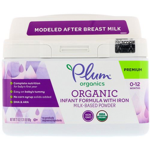 Plum Organics, Organic Infant Formula With Iron Milk-Based Powder, 21 oz (595 g) Review