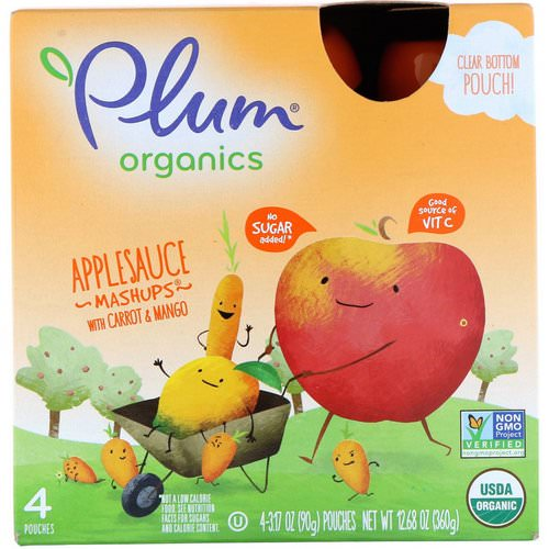 Plum Organics, Organics Applesauce Mashups with Carrot & Mango, 4 Pouches, 3.17 oz (90 g) Each Review