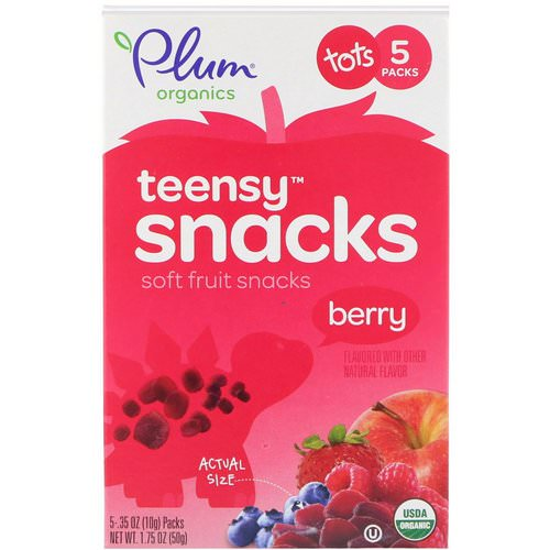 Plum Organics, Tots,Organic Teensy Soft Fruits Snacks, Berry, 12+ Months, 5 Packs, .35 oz (10 g) Each Review