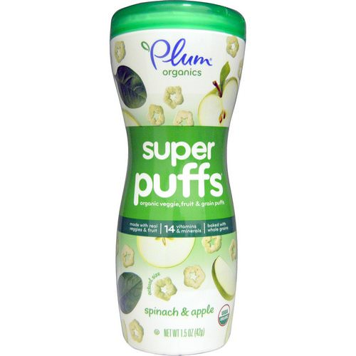 Plum Organics, Super Puffs, Organic Veggie, Fruit & Grain Puffs, Spinach & Apple, 1.5 oz (42 g) Review