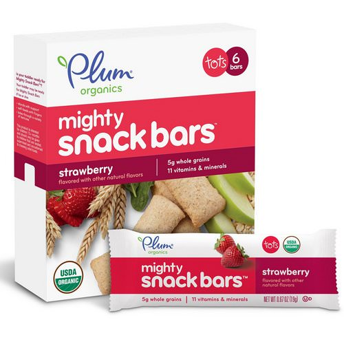 Plum Organics, Tots, Mighty Snack Bars, Strawberry, 6 Bars, 0.67 oz (19 g) Each Review