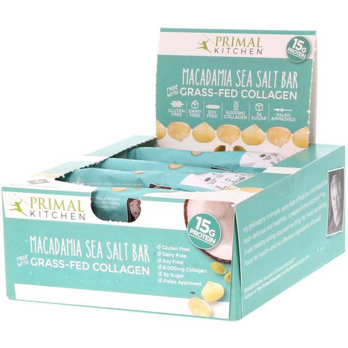 Primal Kitchen, Grass-Fed Collagen Bar, Macadamia Sea Salt, 12 Bars, 20.7 oz (588 g) Review