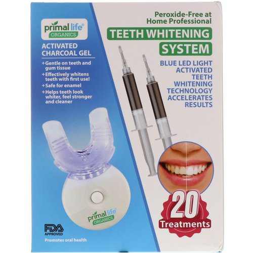 Primal Life Organics, Light Activated Teeth Whitening System, Peroxide-Free, 20 Treatments Review
