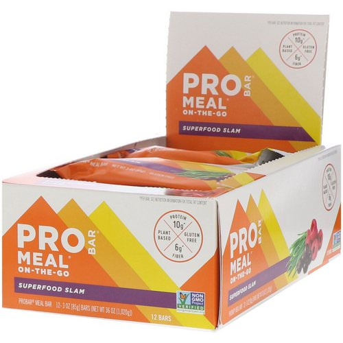 ProBar, Pro Bar, Meal, Superfood Slam, 12 Bars, 3 oz (85 g) Each Review