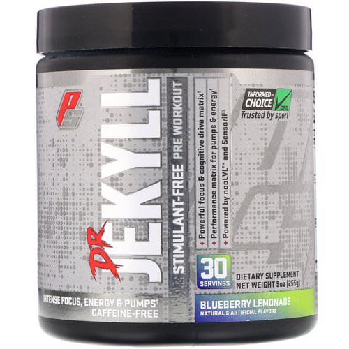 ProSupps, Dr Jekyll, Stimulant-Free Pre-Workout, Blueberry Lemonade, 7.9 oz (255 g) Review