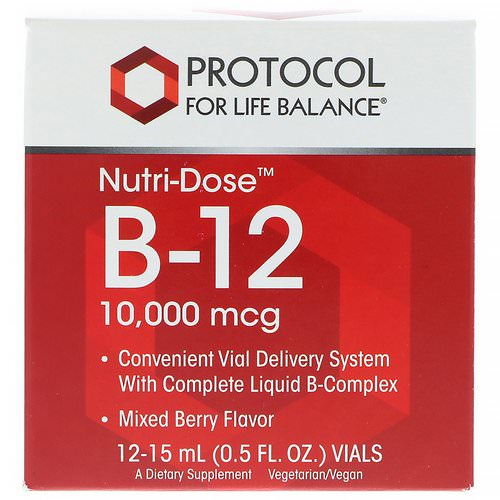 Protocol for Life Balance, Nutri-Dose B-12, Mixed Berry Flavor, 10,000 mcg, 12 Vials, 0.5 fl oz (15 ml) Each Review