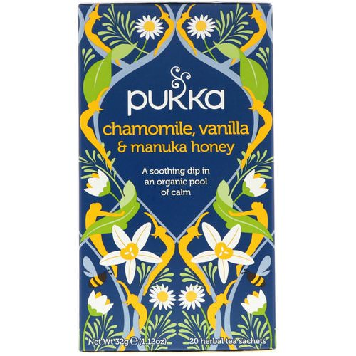 Pukka Herbs, Chamomile, Vanilla & Manuka Honey Tea, Caffeine Free, 20 Herbal Tea Sachets, 1.12 oz (32 g) Review