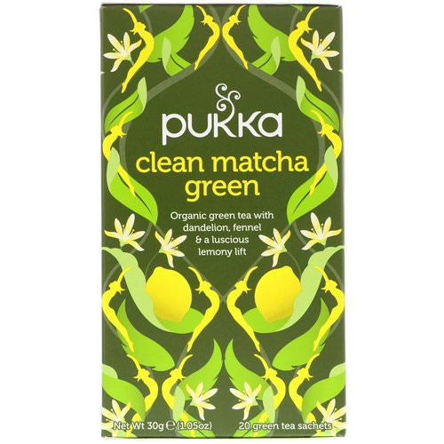 Pukka Herbs, Clean Matcha Green, 20 Green Tea Sachets, 0.05 oz (1.5 g) Each Review