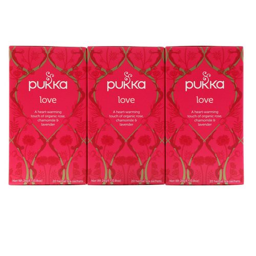 Pukka Herbs, Love, Organic Rose, Chamomile & Lavender Tea, Caffeine Free, 3 Pack, 20 Herbal Tea Sachets Each Review
