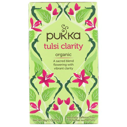 Pukka Herbs, Organic Tulsi Clarity, Caffeine-Free, 20 Herbal Tea Sachets, 1.27 oz (36 g) Review
