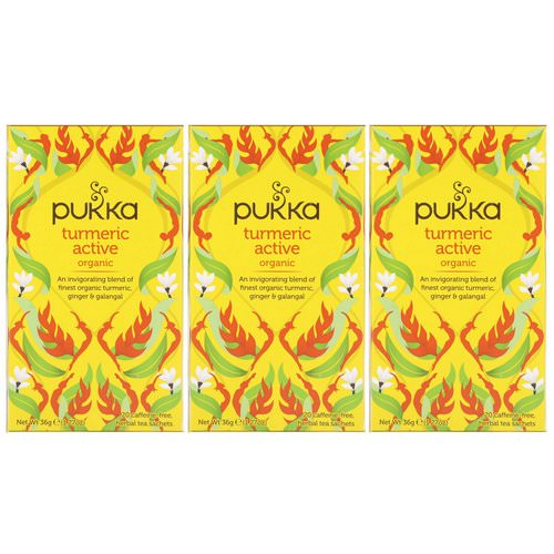 Pukka Herbs, Organic Turmeric Active, Caffeine-Free, 3 Pack, 20 Herbal Tea Sachets Each Review