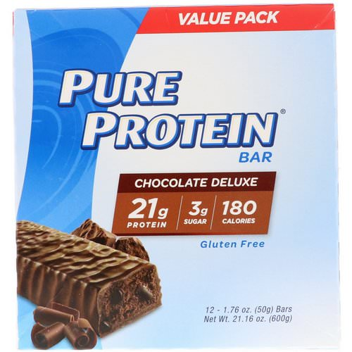 Pure Protein, Chocolate Deluxe Bar, 12 Bars, 1.76 oz (50 g) Each Review