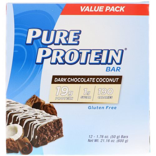 Pure Protein, Dark Chocolate Coconut Bar, 12 Bars, 1.76 oz (50 g) Each Review