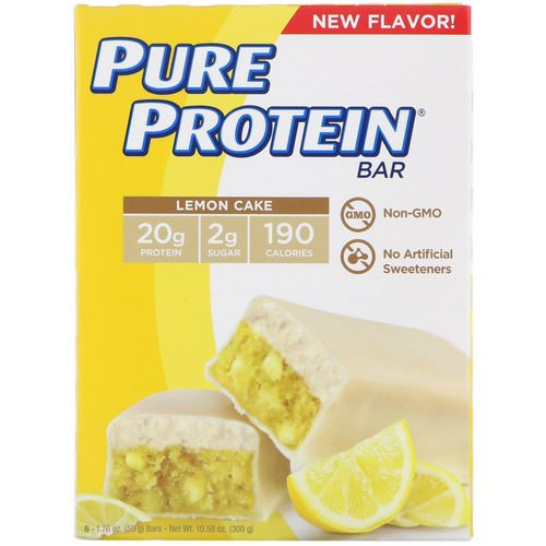 Pure Protein, Lemon Cake Bar, 6 Bars, 1.76 oz (50 g) Each Review