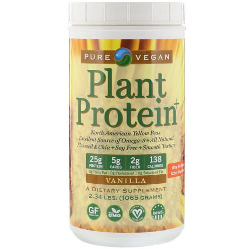 Pure Vegan, Plant Protein+, Vanilla, 2.34 lbs (1065 g) Review