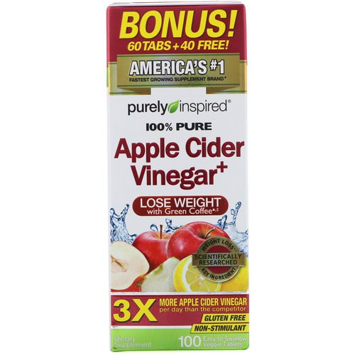 Purely Inspired, Apple Cider Vinegar+, 100 Easy-to-Swallow Veggie Tablets Review
