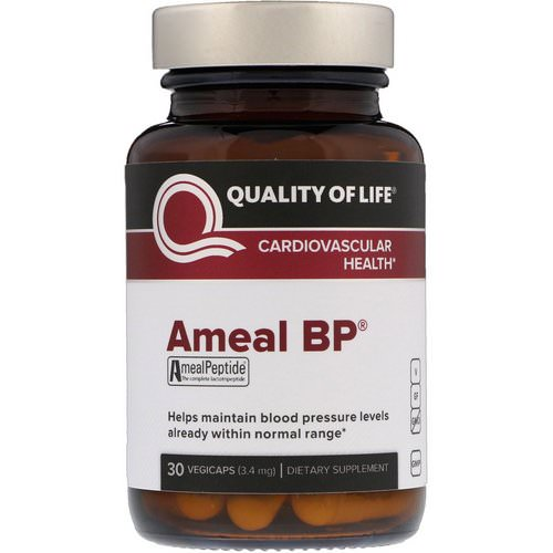 Quality of Life Labs, Ameal BP, Cardiovascular Health, 3.4 mg, 30 VegiCaps Review