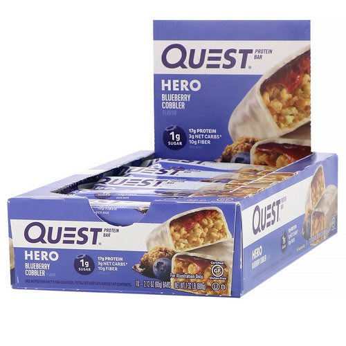 Quest Nutrition, Hero Protein Bar, Blueberry Cobbler, 10 Bars, 2.12 oz (60 g) Each Review