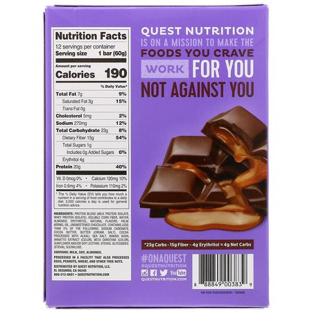 Quest Nutrition, Whey Protein Bars, Milk Protein Bars