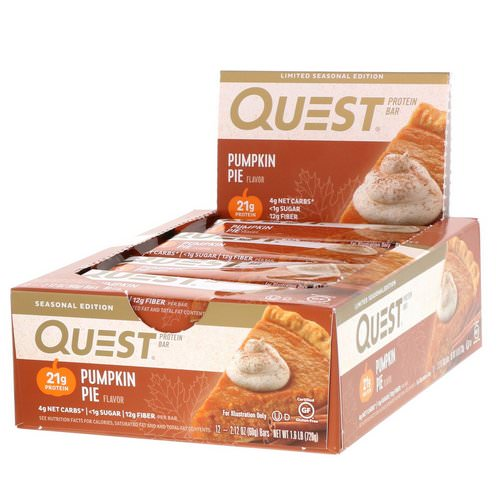 Quest Nutrition, Protein Bar, Pumpkin Pie, 12 Bars, 2.12 oz (60 g) Each Review
