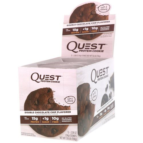 Quest Nutrition, Protein Cookie, Double Chocolate Chip, 12 Pack, 2.08 oz (59 g) Each Review