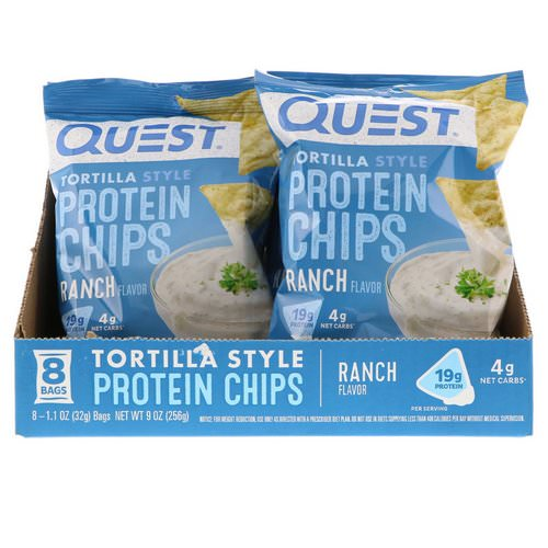 Quest Nutrition, Tortilla Style Protein Chips, Ranch, 8 Bags, 1.1 oz (32 g ) Each Review