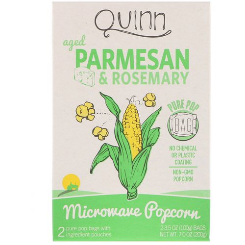 Quinn Popcorn, Microwave Popcorn, Parmesan & Rosemary, 2 Bags, 3.5 oz (100 g) Each Review