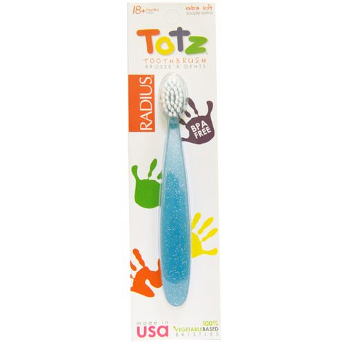 RADIUS, Totz Toothbrush, 18 + Months, Extra Soft, Light Blue Sparkle Review