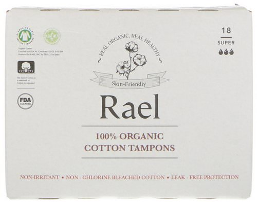 Rael, 100% Organic Cotton Tampons, Super, 18 Tampons Review