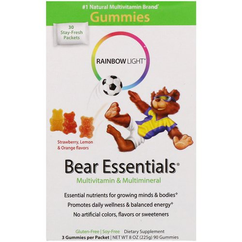 Rainbow Light, Bear Essentials, Multivitamin & Multimineral, Gummies, Strawberry, Lemon & Orange Flavors, 30 Packets, 3 Gummies Each Review