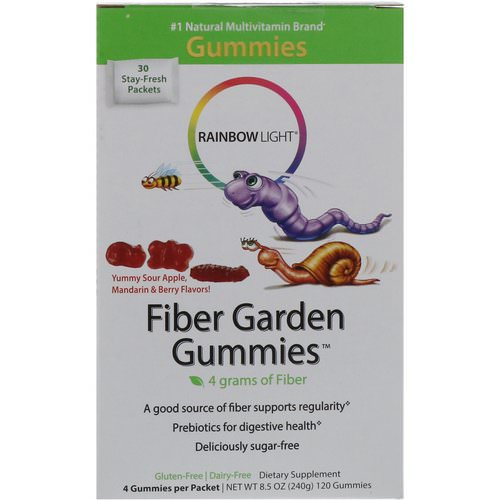 Rainbow Light, Fiber Garden Gummies, Sour Berry, Apple & Mandarin Flavors, 30 Packets, 4 Gummies (8 g) Each Review