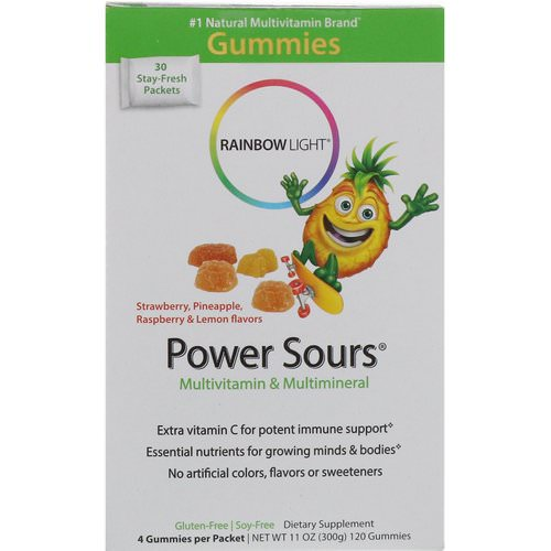 Rainbow Light, Gummy Power Sours, Multivitamin & Multimineral, Strawberry, Pineapple, Raspberry & Lemon Flavors, 30 Packets, (4 Gummies) Each Review