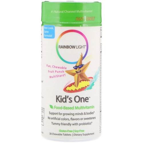 Rainbow Light, Kid's One, MultiStars, Food-Based Multivitamin, Fruit Punch, 30 Chewable Tablets Review